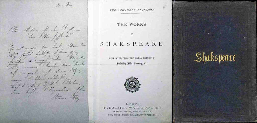 Anna Herz presented her Shakespeare-Edition as a farewell gift to the parting Ettore. Her inscription is on the front paper. (Edited image based on photos taken 1986. © H. M. Hensel 2021.)