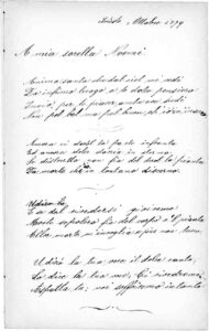 Ettore's poem for his late sister Naomi, written in October 1879 on one of the back pages of his poetry album.