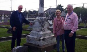 With Anna Herz's great-granddaughter Barbara Eaker and her great-nephew Irwin Herz at the tombstone of the Family of Jacob S. Miller in Galveston, Texas.