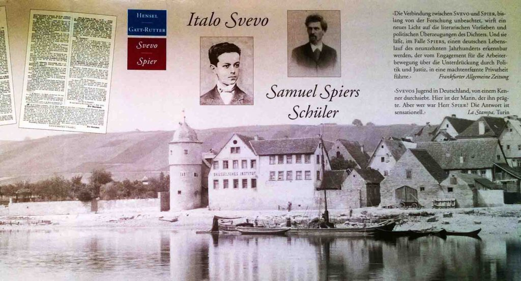 The dust jacket of the 1996 monograph Italo Svevo. Samuel Spiers Schüler shows the three main characters of the book: Ettore, his teacher – and Segnitz. The large school building with the classrooms was close to the outskirts of the village. Next to the tower on the left – already outside of the village –, was the Kreglinger Garden. The elegant top of one of the two garden pavilions can be seen. This photo was taken in 1893 when the Brüsselsche Institut had been closed already for twelve years.