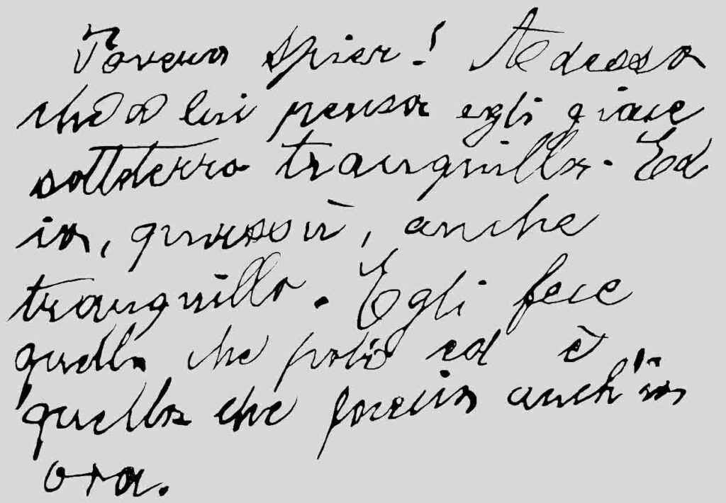 """Poor Spier! Italo Svevo scribbled these lines across the pages of a tiny booklet while sitting near Verona in a moving train on his way to London on December 31, 1925. Based on a picture taken 1986, edited and first published 1996 in """"Italo Svevo. Samuel Spiers Schüler."""" © H. M. Hensel."""